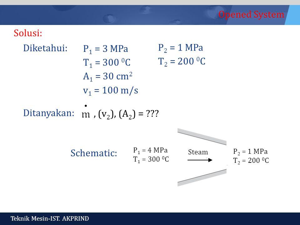 Solusi: Diketahui: P1 = 3 MPa T1 = 300 0C A1 = 30 cm2 v1 = 100 m/s