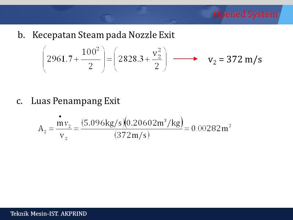Kecepatan Steam pada Nozzle Exit