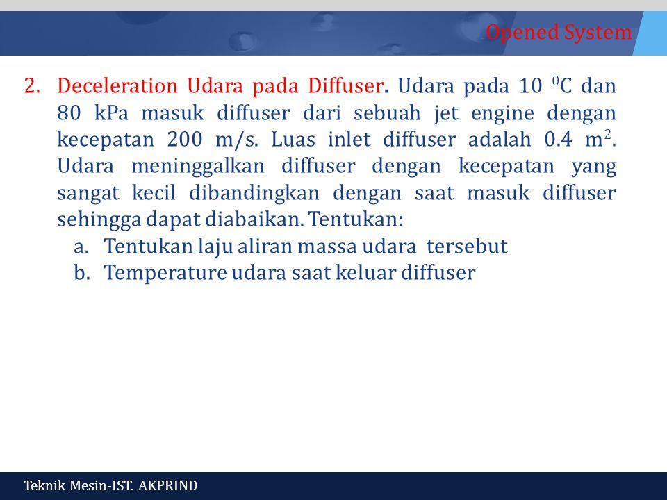 Deceleration Udara pada Diffuser