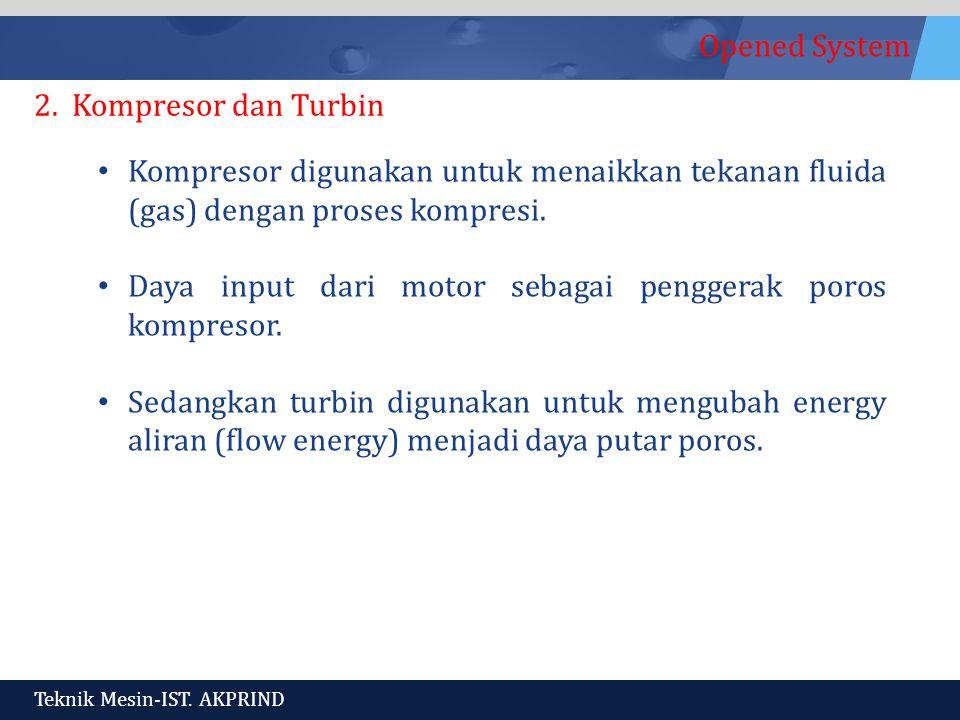 2. Kompresor dan Turbin Kompresor digunakan untuk menaikkan tekanan fluida (gas) dengan proses kompresi.