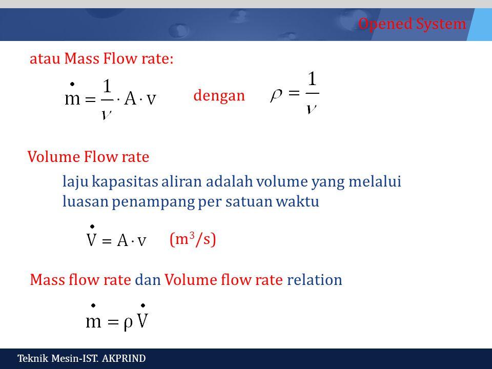 atau Mass Flow rate: dengan. Volume Flow rate. laju kapasitas aliran adalah volume yang melalui luasan penampang per satuan waktu.