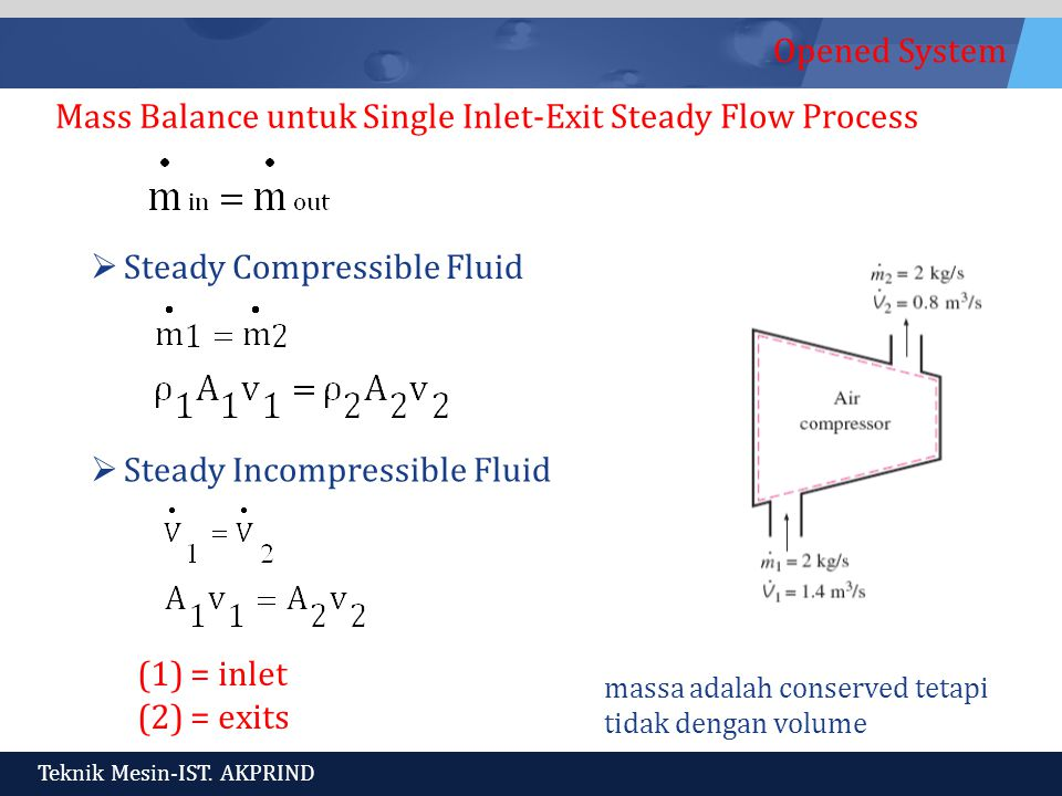 Mass Balance untuk Single Inlet-Exit Steady Flow Process