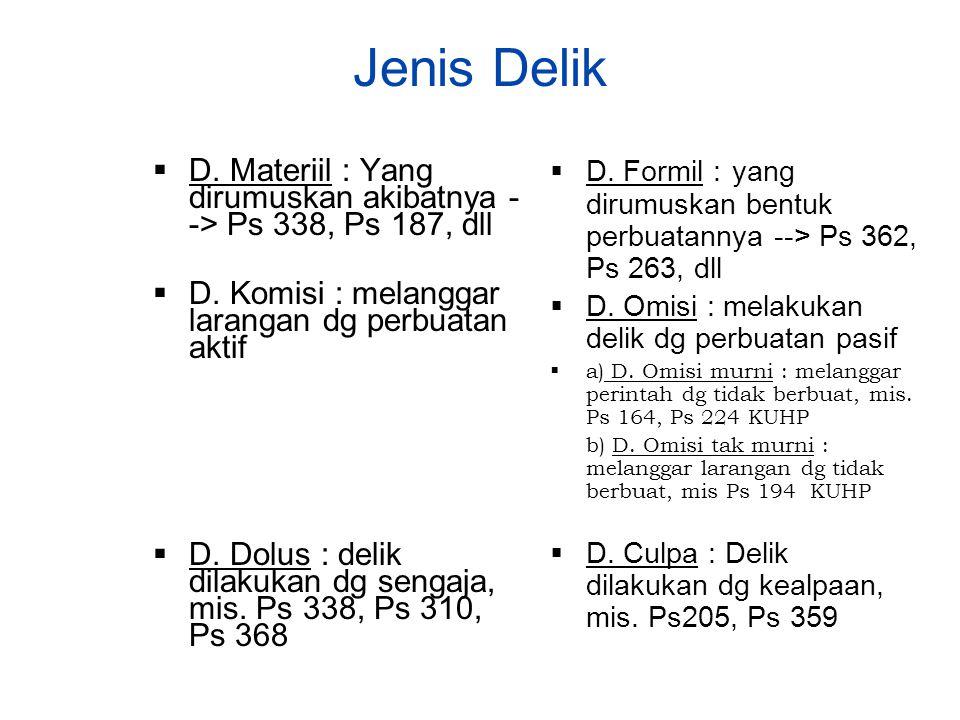 Jenis Delik D. Formil : yang dirumuskan bentuk perbuatannya --> Ps 362, Ps 263, dll. D. Omisi : melakukan delik dg perbuatan pasif.