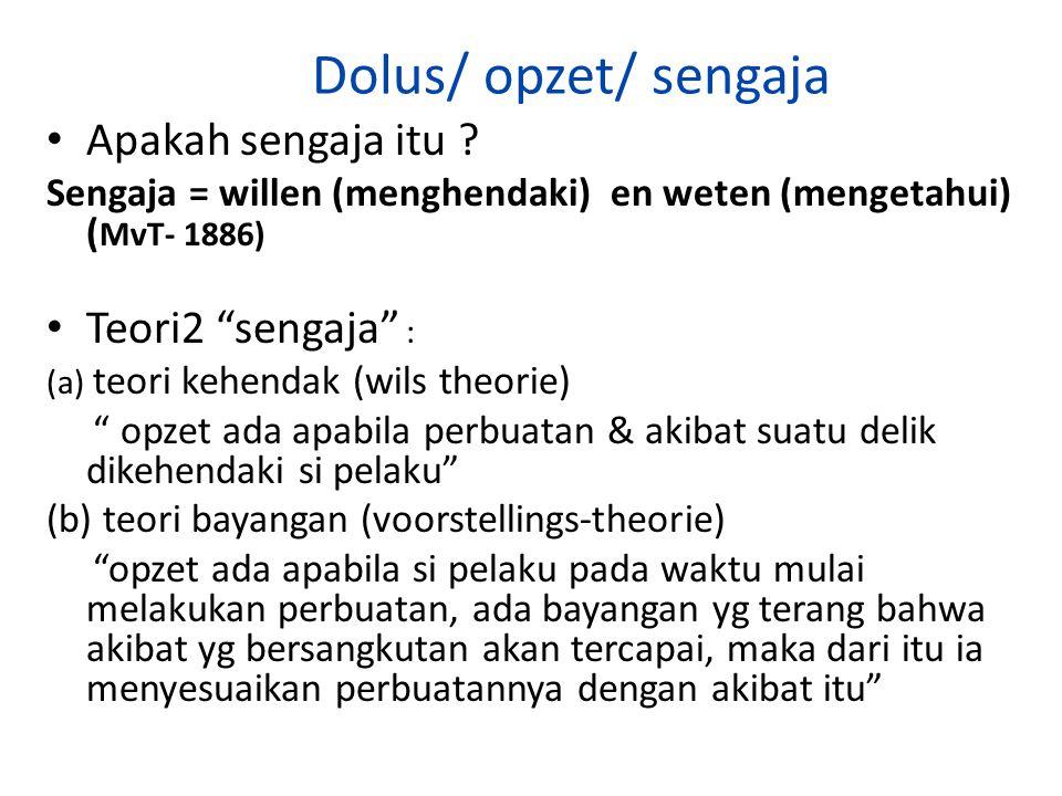 Dolus/ opzet/ sengaja Apakah sengaja itu Teori2 sengaja :