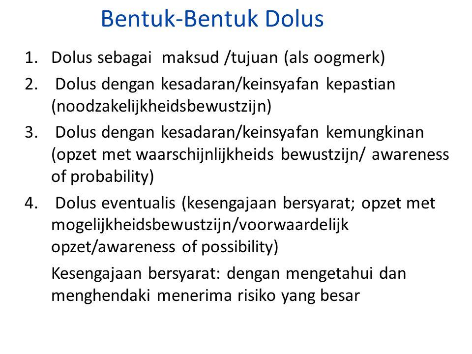 Bentuk-Bentuk Dolus 1. Dolus sebagai maksud /tujuan (als oogmerk)