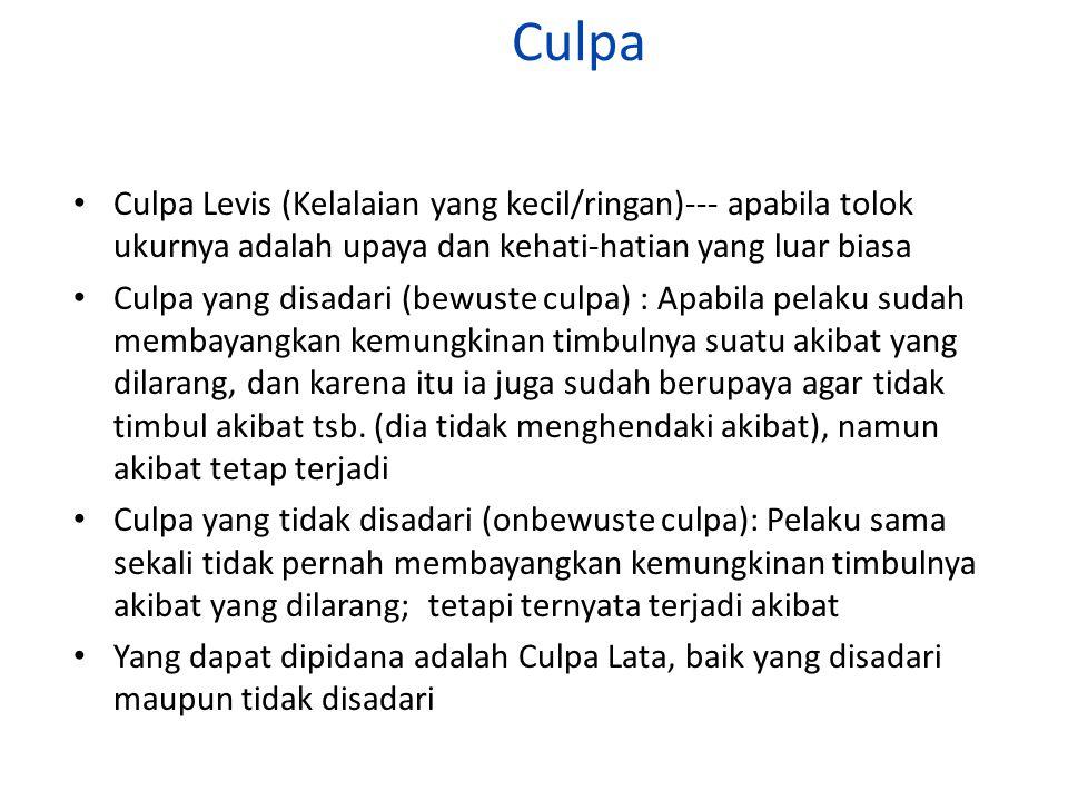Culpa Culpa Levis (Kelalaian yang kecil/ringan)--- apabila tolok ukurnya adalah upaya dan kehati-hatian yang luar biasa.
