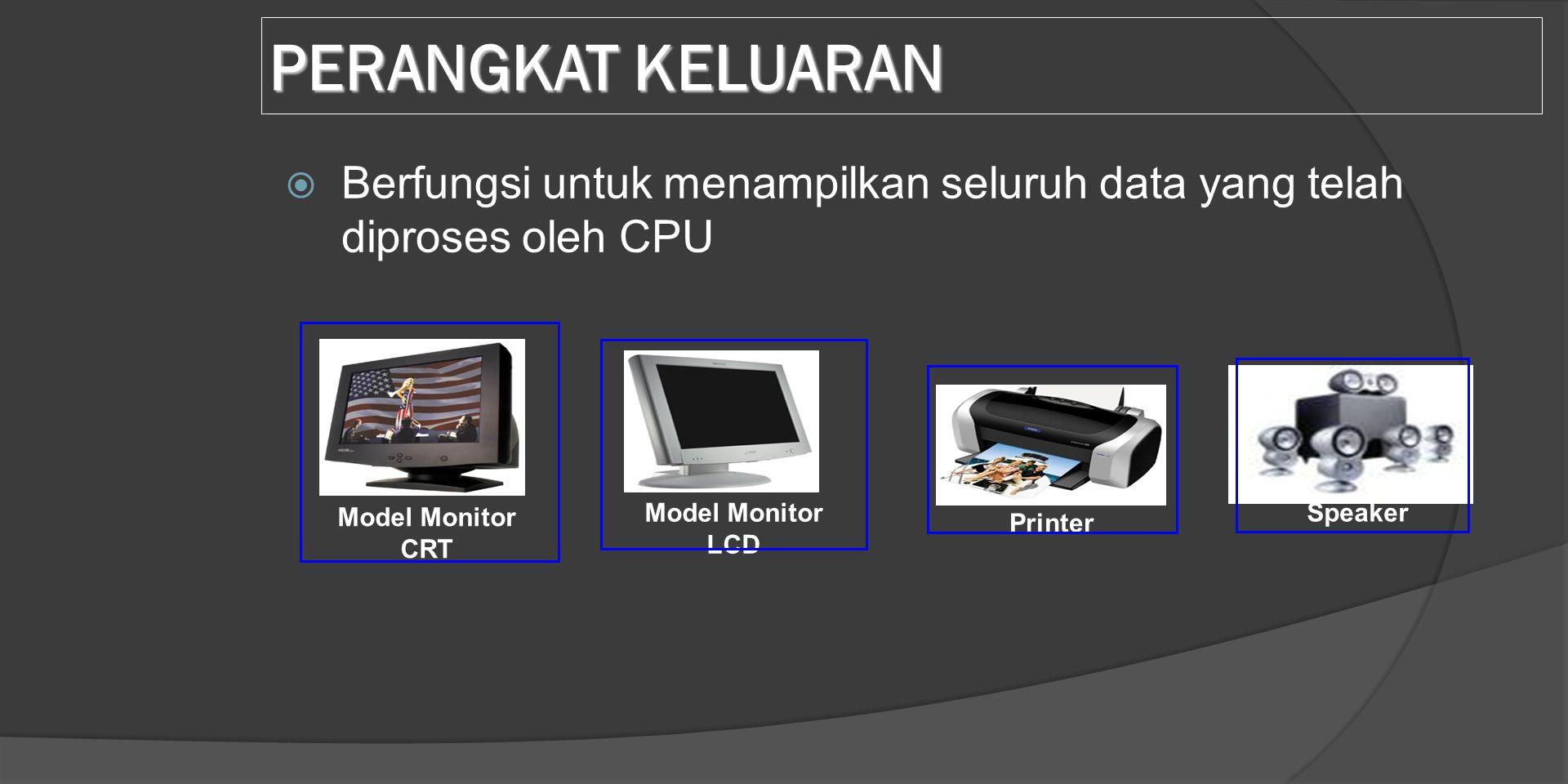 PERANGKAT KELUARAN Berfungsi untuk menampilkan seluruh data yang telah diproses oleh CPU. Model Monitor CRT.