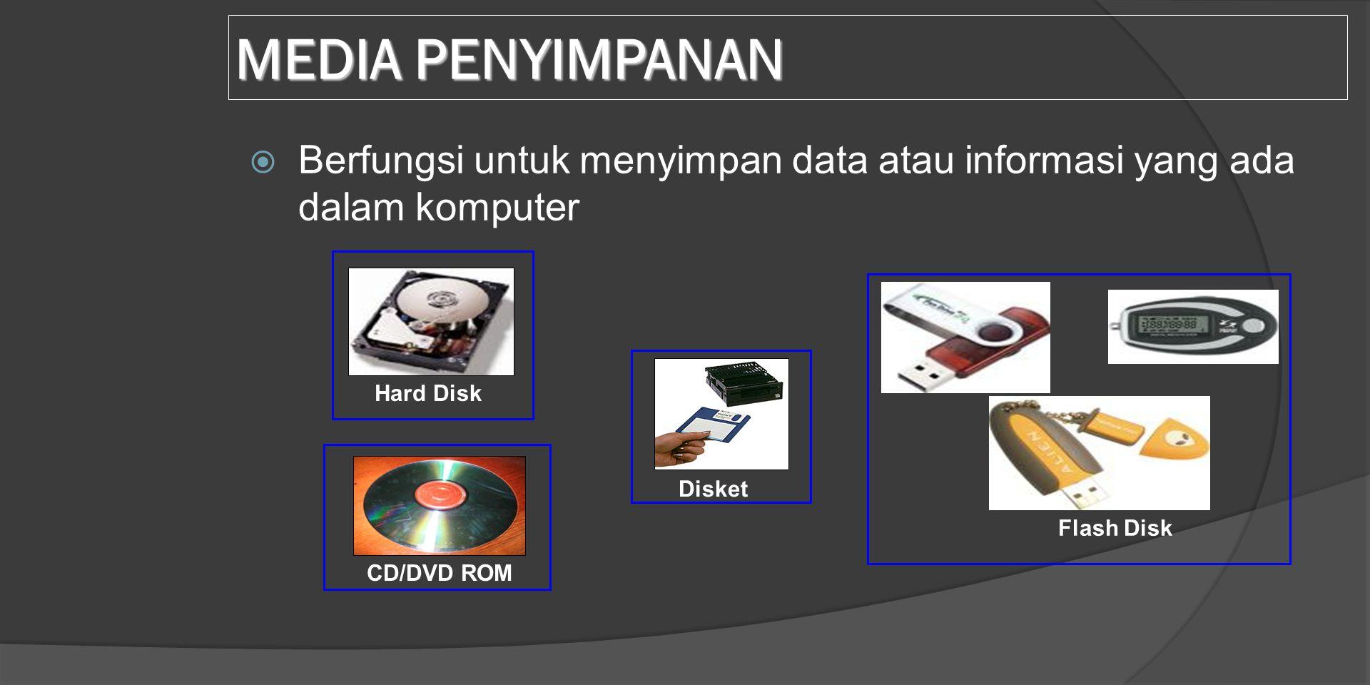 MEDIA PENYIMPANAN Berfungsi untuk menyimpan data atau informasi yang ada dalam komputer. Hard Disk.