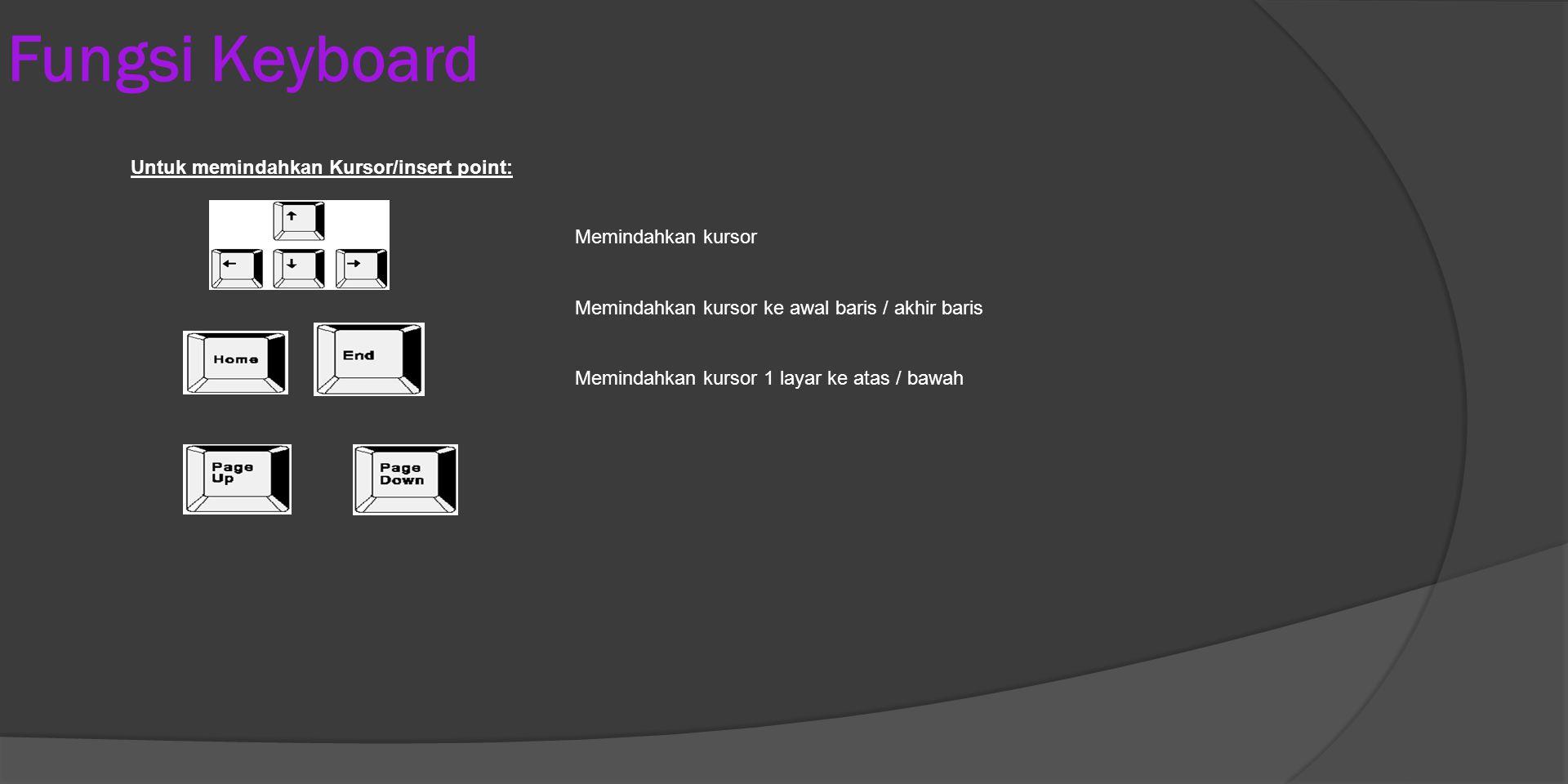Fungsi Keyboard Untuk memindahkan Kursor/insert point: