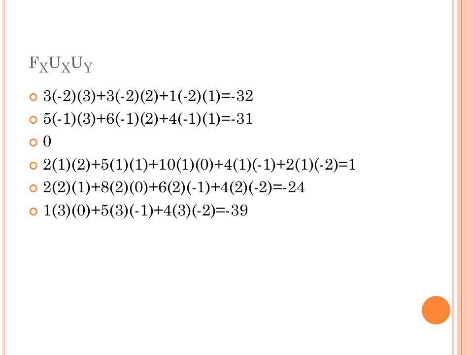 fxuxuy 3(-2)(3)+3(-2)(2)+1(-2)(1)=-32 5(-1)(3)+6(-1)(2)+4(-1)(1)=-31