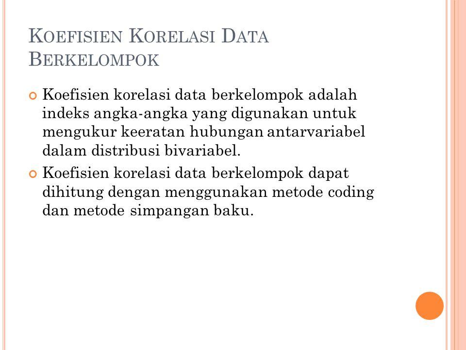 Koefisien Korelasi Data Berkelompok