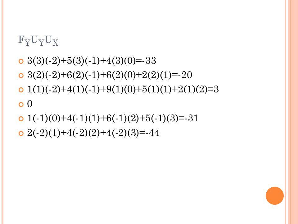 fyuyux 3(3)(-2)+5(3)(-1)+4(3)(0)=-33