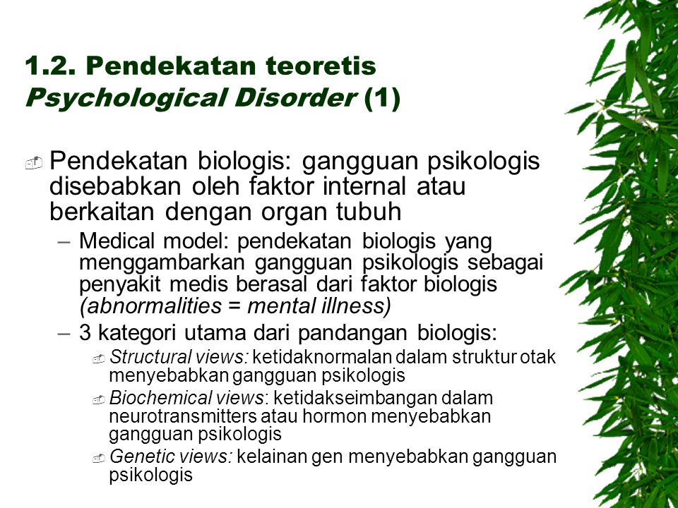 1.2. Pendekatan teoretis Psychological Disorder (1)