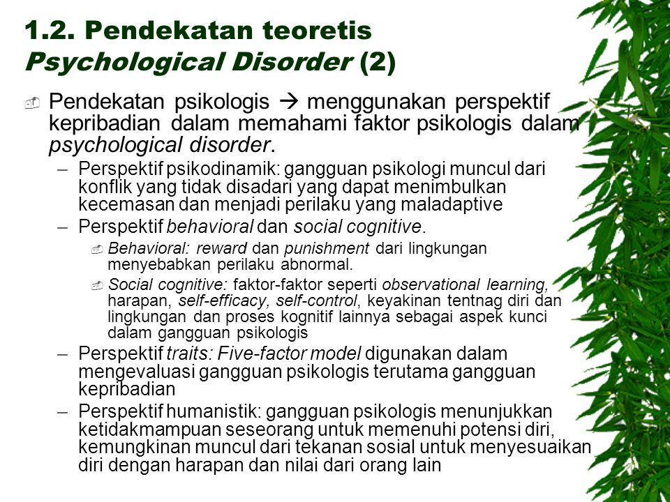 1.2. Pendekatan teoretis Psychological Disorder (2)