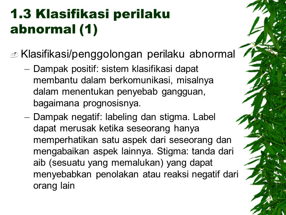 1.3 Klasifikasi perilaku abnormal (1)