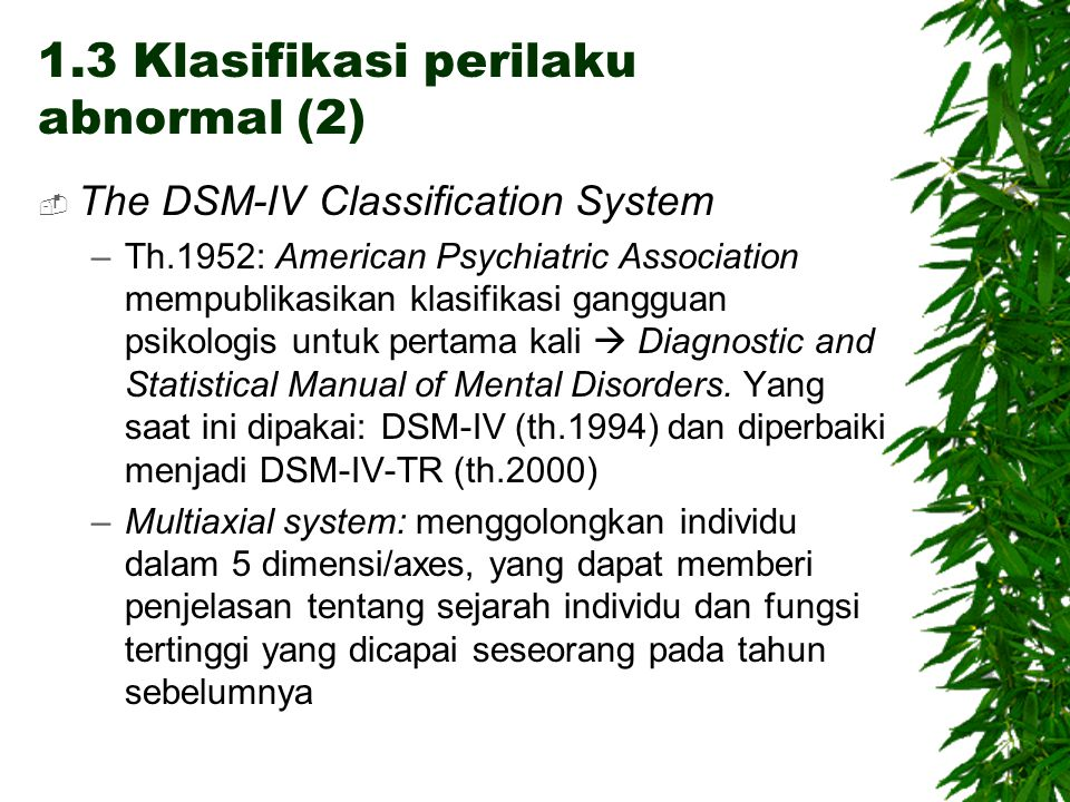 1.3 Klasifikasi perilaku abnormal (2)