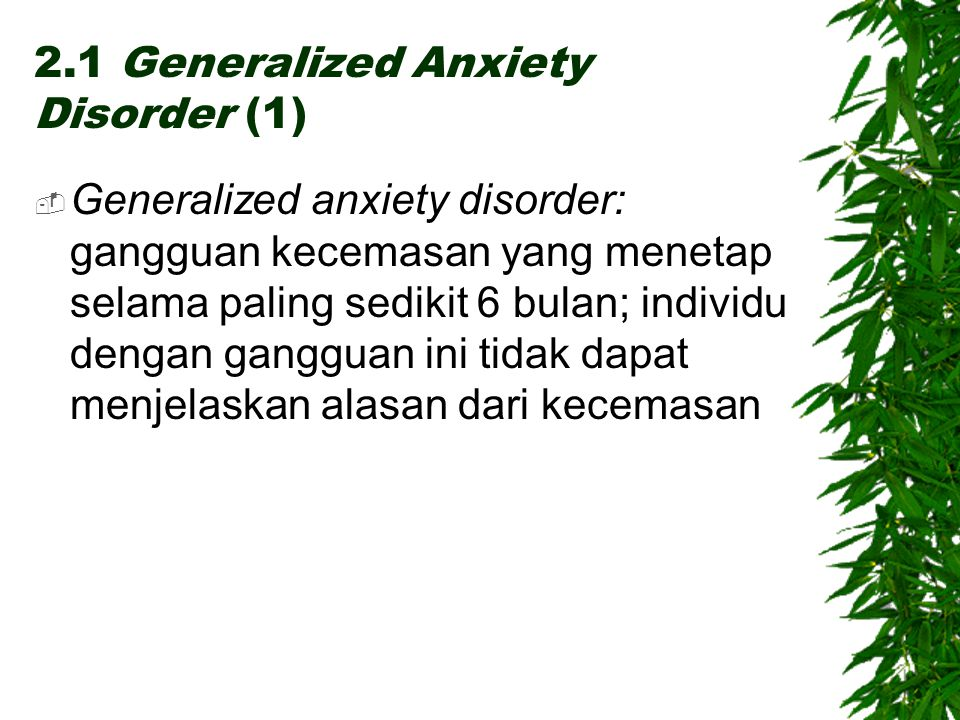 2.1 Generalized Anxiety Disorder (1)