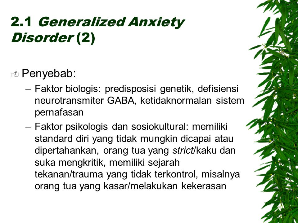 2.1 Generalized Anxiety Disorder (2)