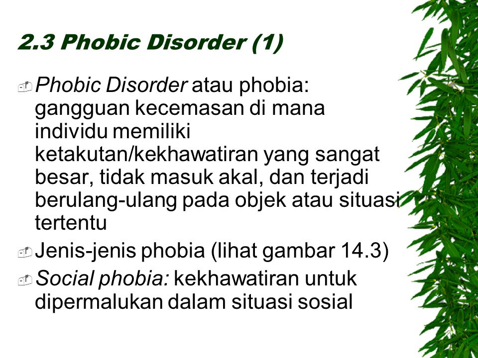 2.3 Phobic Disorder (1)