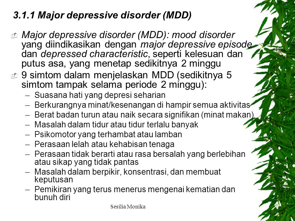 3.1.1 Major depressive disorder (MDD)