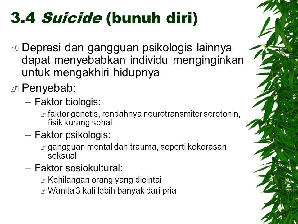 3.4 Suicide (bunuh diri) Depresi dan gangguan psikologis lainnya dapat menyebabkan individu menginginkan untuk mengakhiri hidupnya.