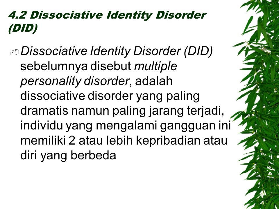 4.2 Dissociative Identity Disorder (DID)