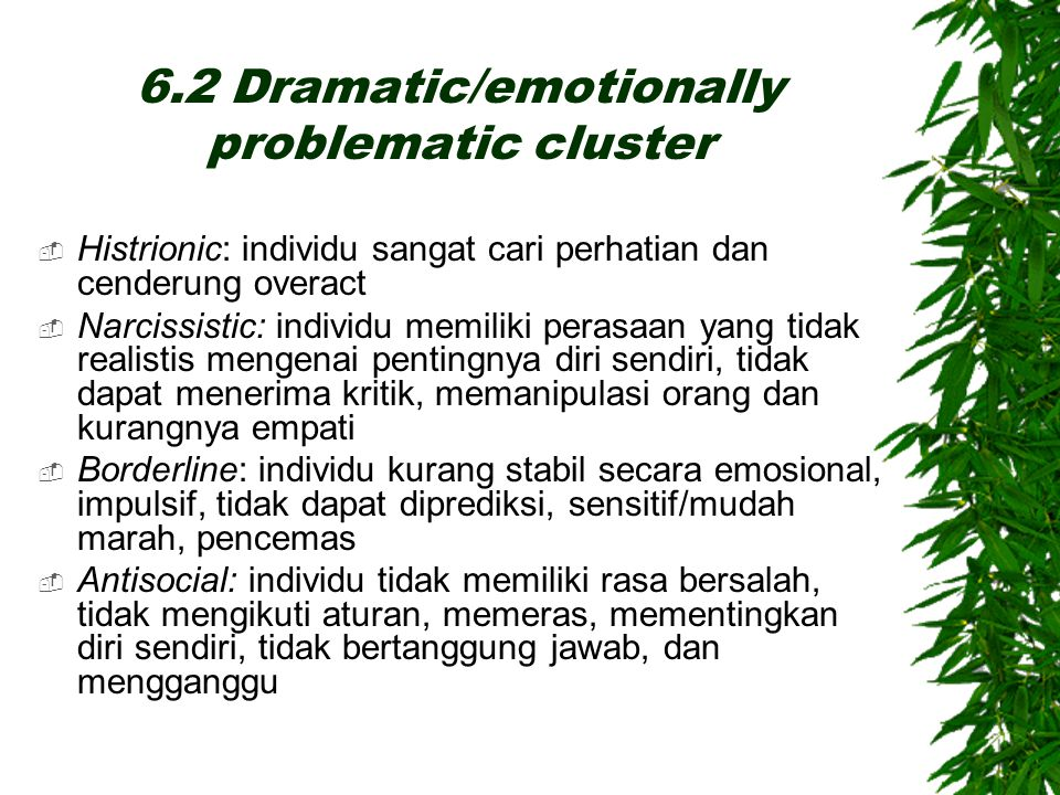 6.2 Dramatic/emotionally problematic cluster