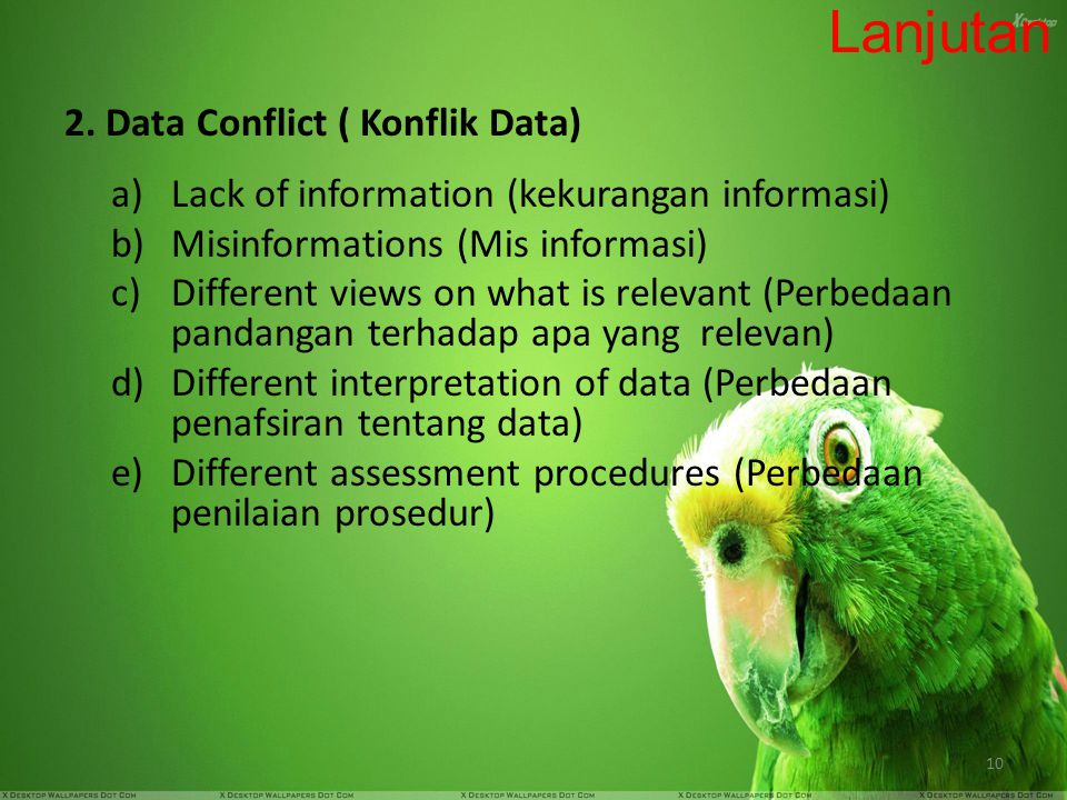 Lanjutan 2. Data Conflict ( Konflik Data)