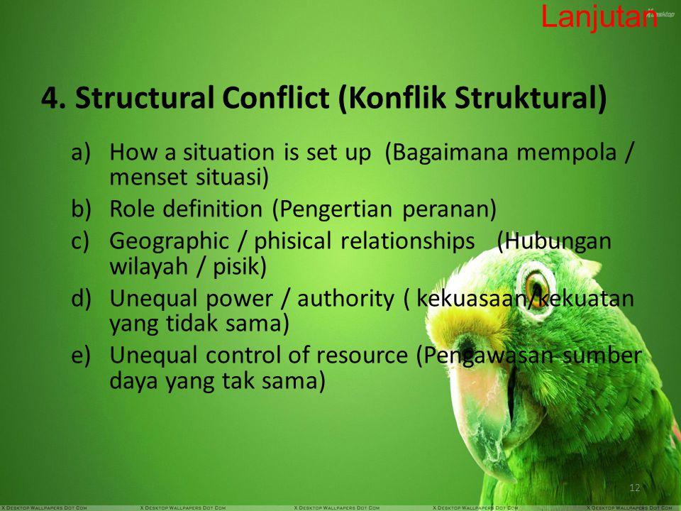 4. Structural Conflict (Konflik Struktural)