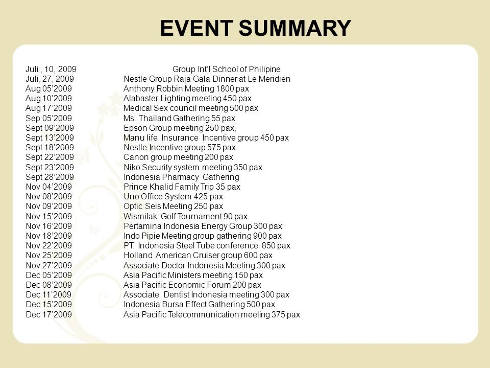 EVENT SUMMARY Juli , 10, 2009 Group Int'l School of Philipine
