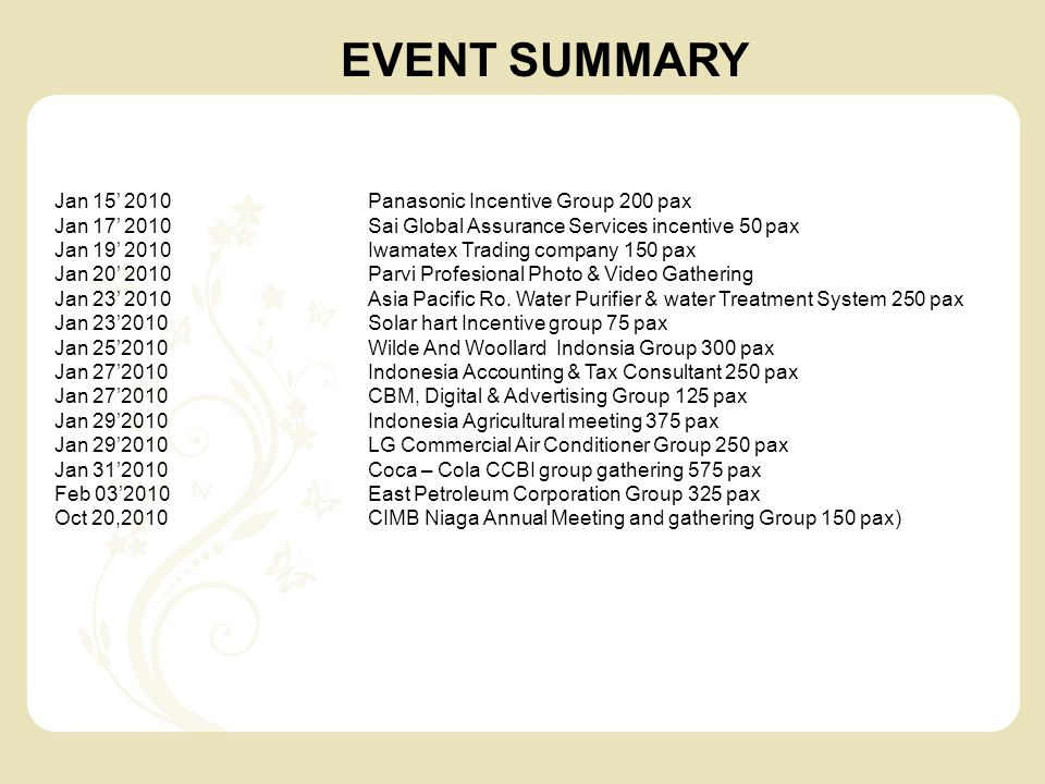 EVENT SUMMARY Jan 15' 2010 Panasonic Incentive Group 200 pax