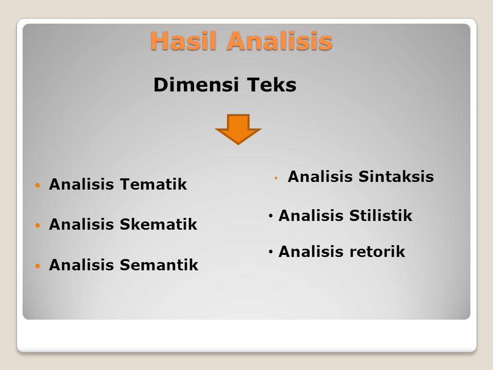 Hasil Analisis Dimensi Teks Analisis Tematik Analisis Skematik