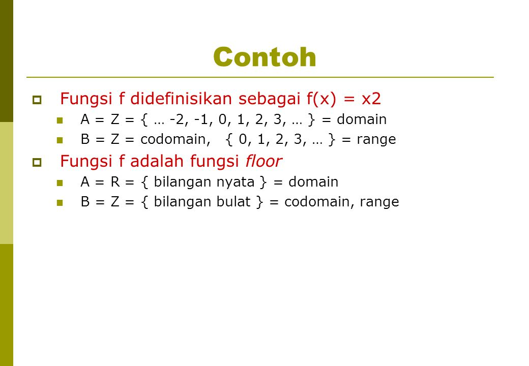 Contoh Fungsi f didefinisikan sebagai f(x) = x2