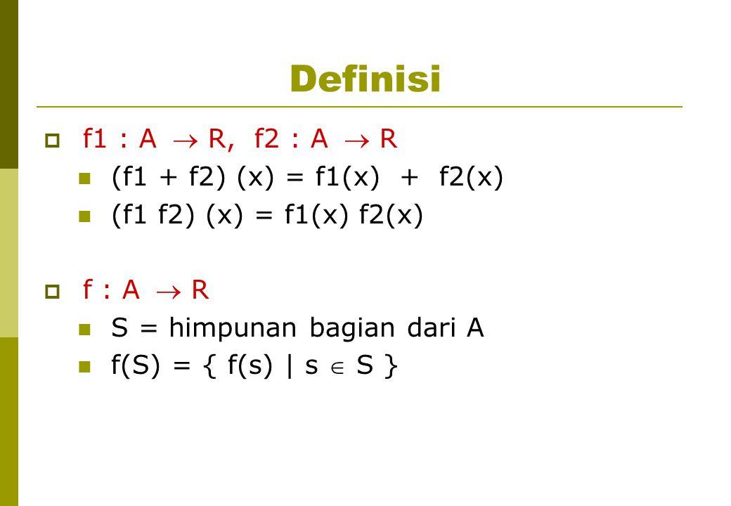 Definisi f1 : A  R, f2 : A  R (f1 + f2) (x) = f1(x) + f2(x)