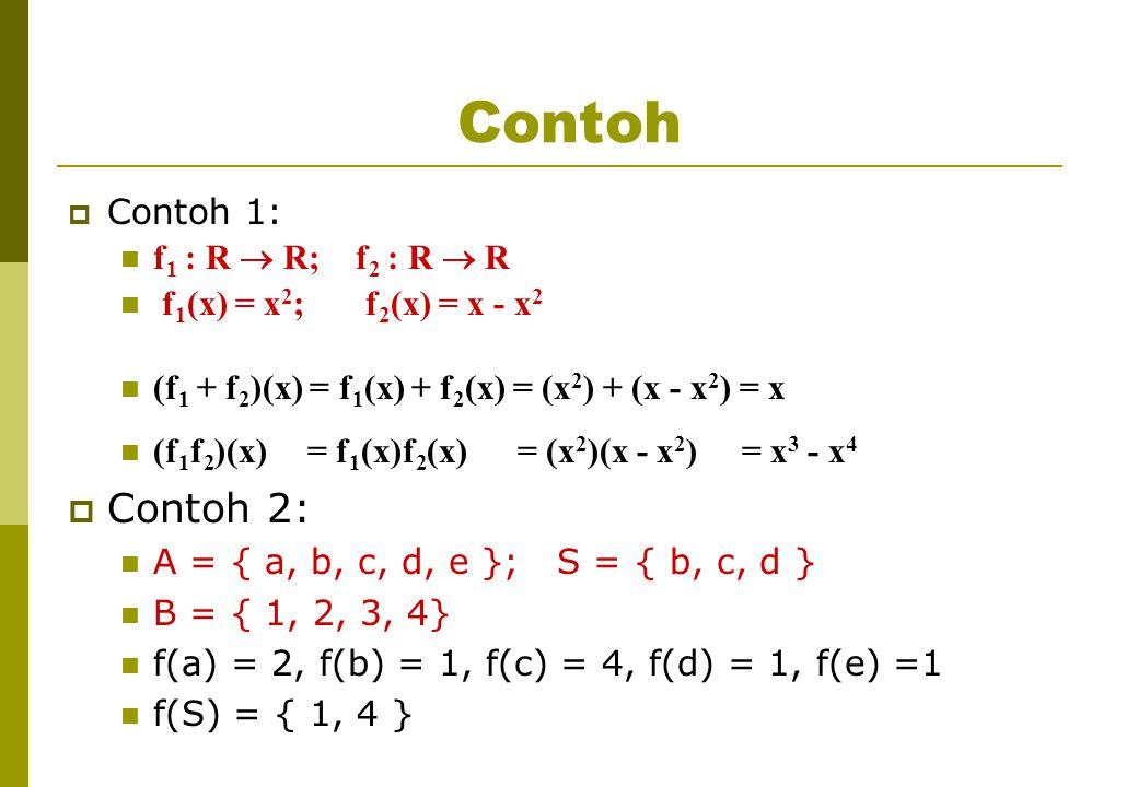 Contoh Contoh 2: Contoh 1: f1 : R  R; f2 : R  R