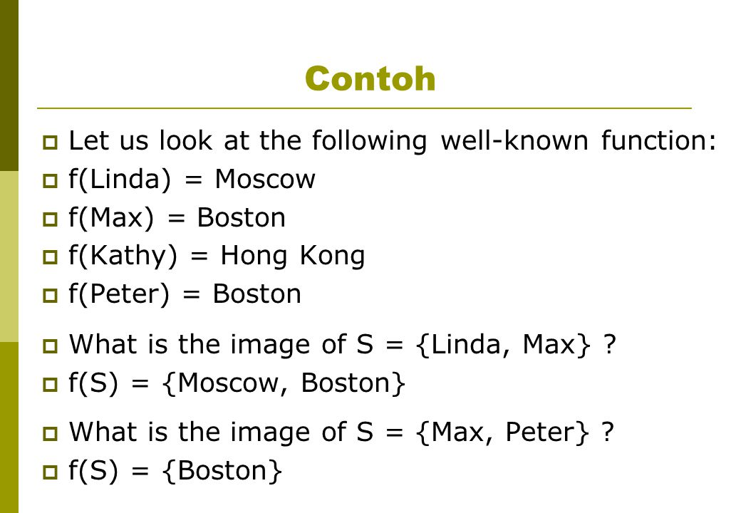 Contoh Let us look at the following well-known function: