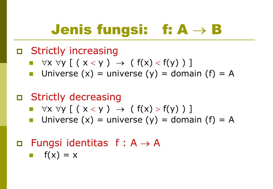Jenis fungsi: f: A  B Strictly increasing Strictly decreasing