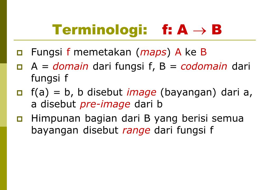 Terminologi: f: A  B Fungsi f memetakan (maps) A ke B