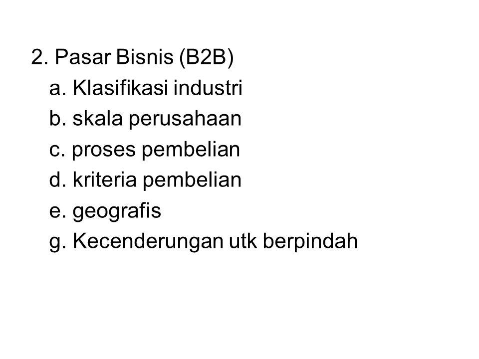 2. Pasar Bisnis (B2B) a. Klasifikasi industri. b. skala perusahaan. c. proses pembelian. d. kriteria pembelian.