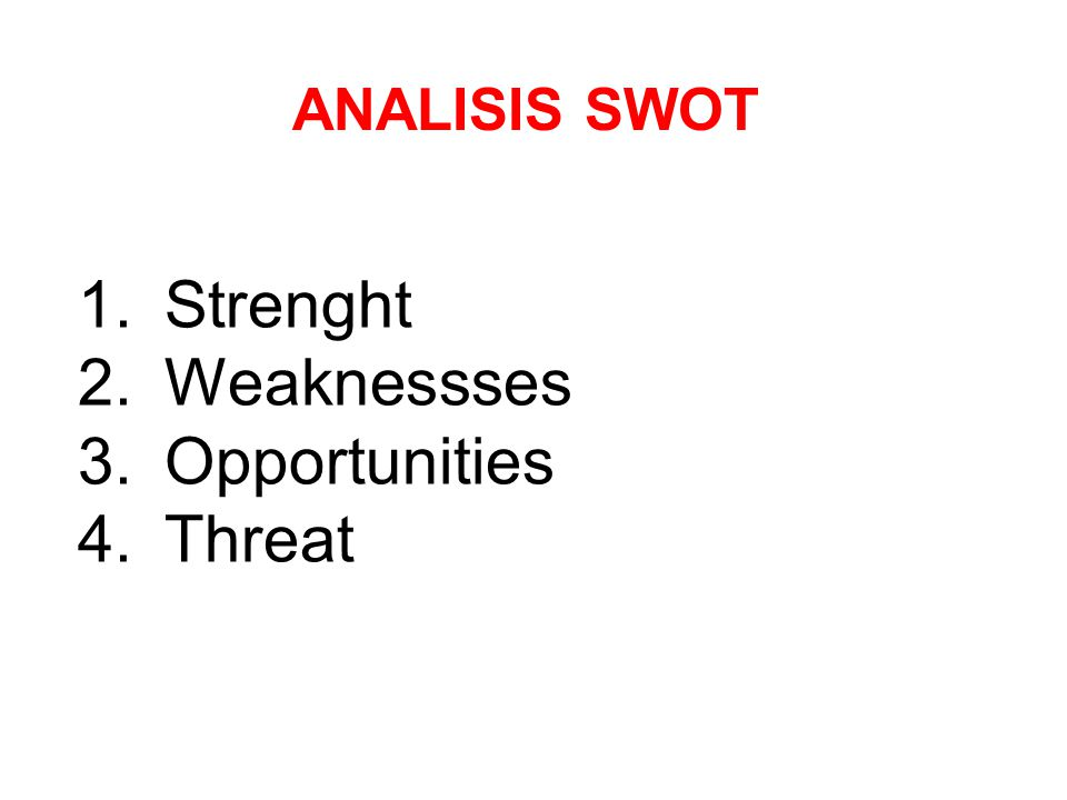 ANALISIS SWOT Strenght Weaknessses Opportunities Threat