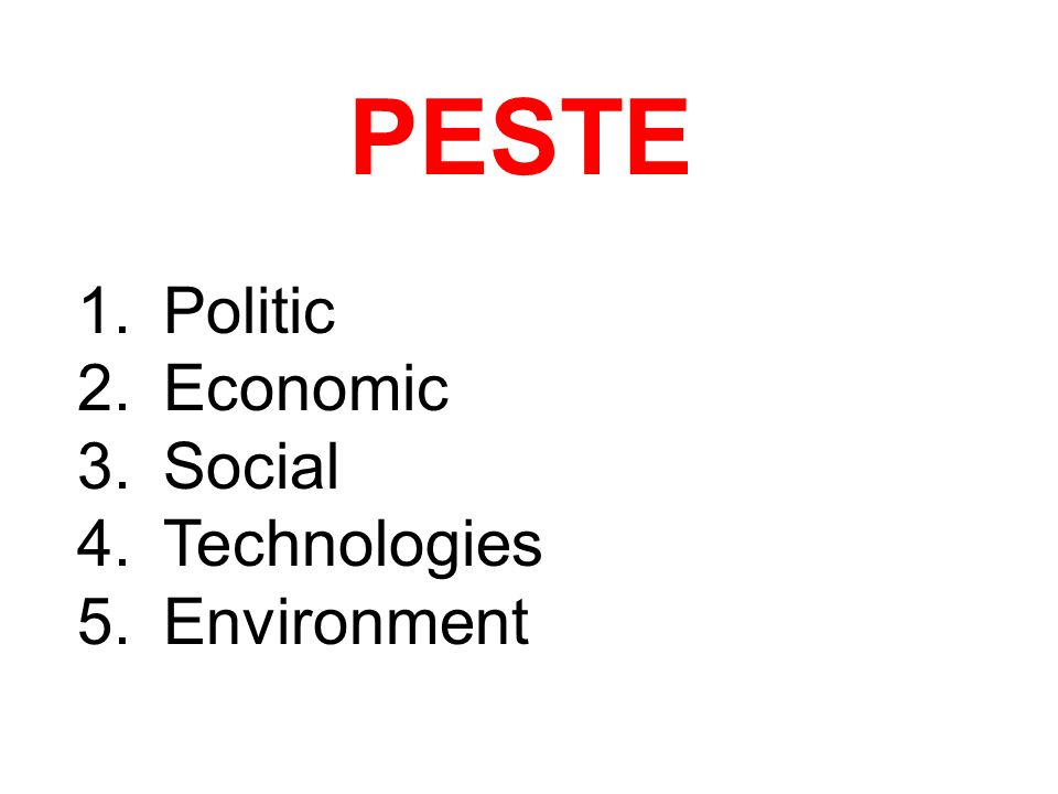 PESTE Politic Economic Social Technologies Environment