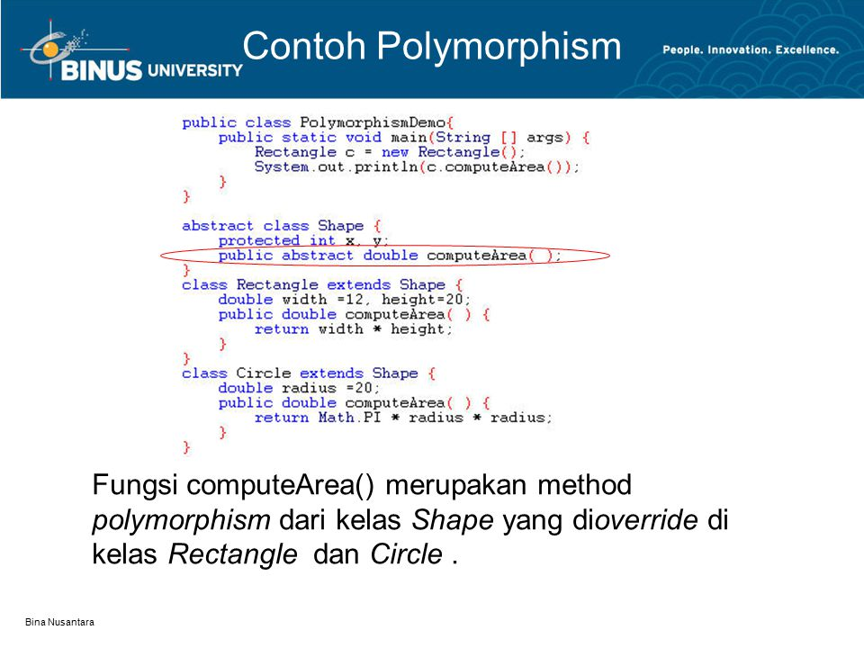 Contoh Polymorphism Fungsi computeArea() merupakan method polymorphism dari kelas Shape yang dioverride di kelas Rectangle dan Circle .