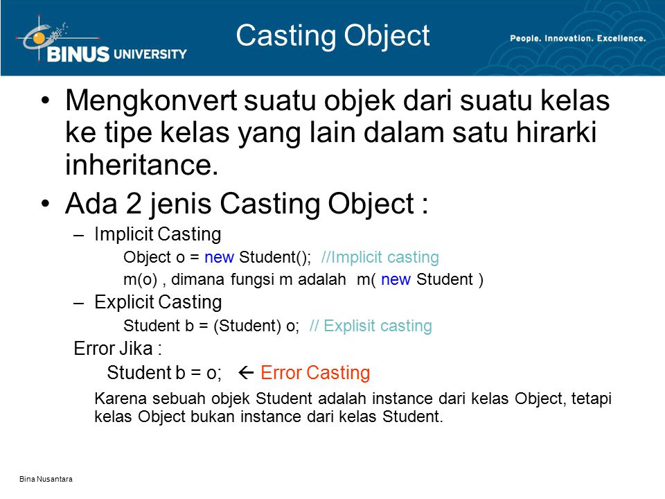 Ada 2 jenis Casting Object :