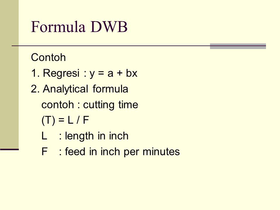 Formula DWB Contoh 1. Regresi : y = a + bx 2. Analytical formula
