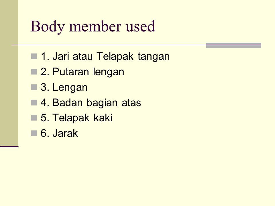 Body member used 1. Jari atau Telapak tangan 2. Putaran lengan