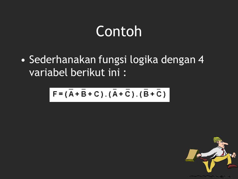 Contoh Sederhanakan fungsi logika dengan 4 variabel berikut ini :