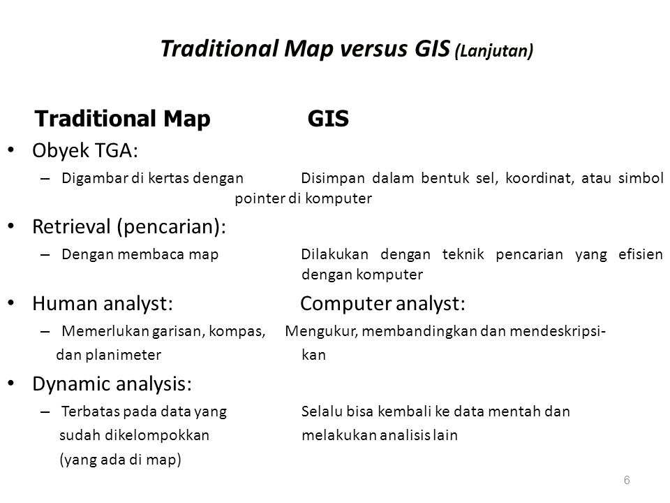 Traditional Map versus GIS (Lanjutan)