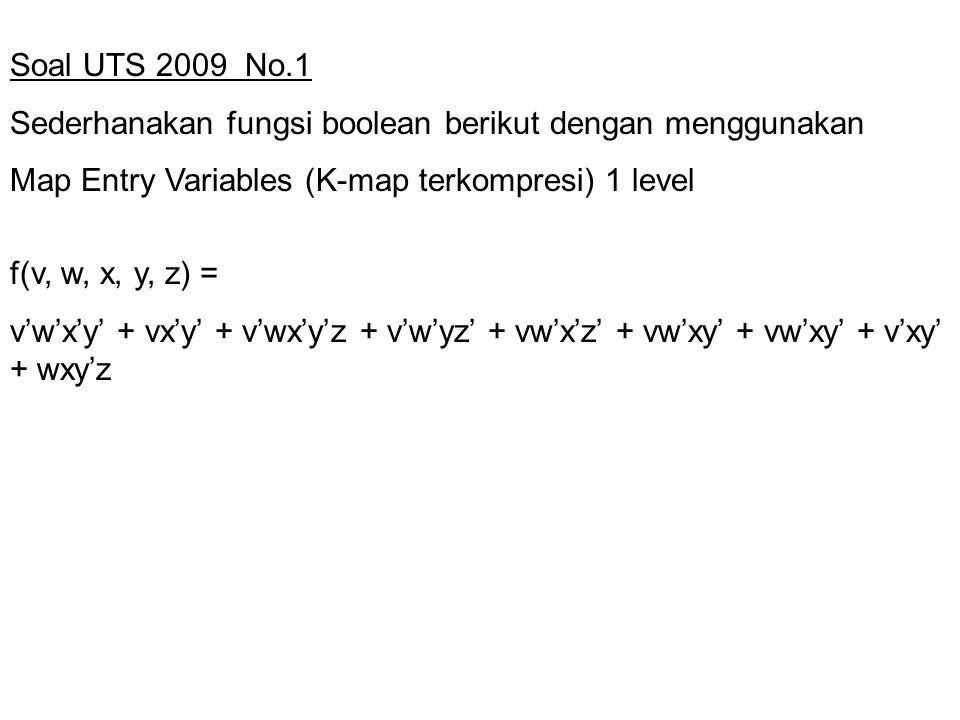 Soal UTS 2009 No.1 Sederhanakan fungsi boolean berikut dengan menggunakan. Map Entry Variables (K-map terkompresi) 1 level.