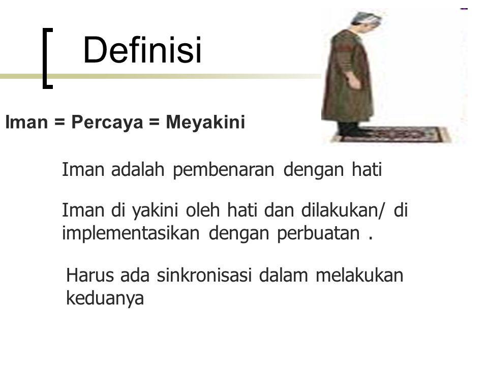 Definisi Iman = Percaya = Meyakini Iman adalah pembenaran dengan hati