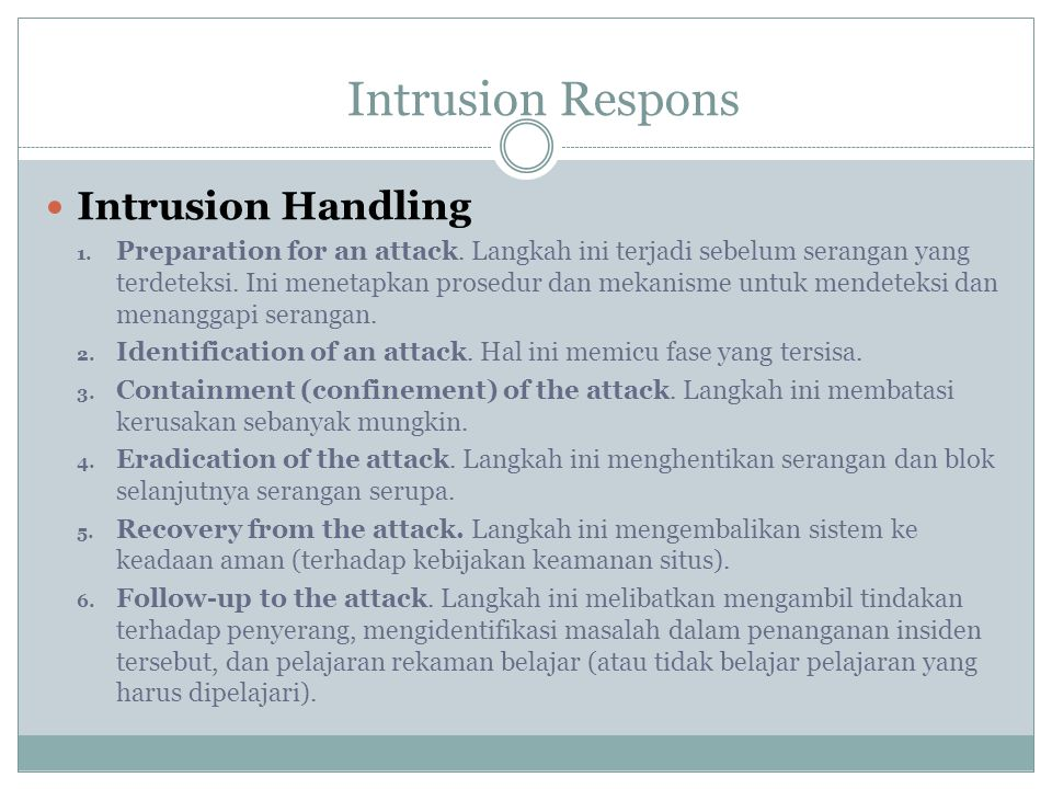 Intrusion Respons Intrusion Handling